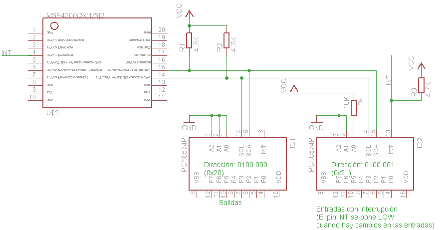 PCF8574 Conectado a un MSP430G2553
