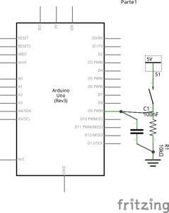 Arduino conectado a un pulsador con una resistencia pull-down externa.