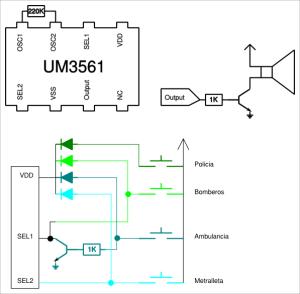 UM3561 conectado a cuatro pulsadores.